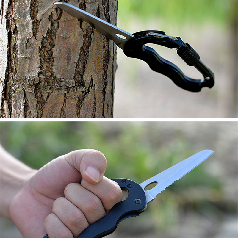 5 In 1 Outdoor Survival Carabiner Multifunctional Hiking Foldable Knife Screwdriver Aluminum Alloy Climbing Gear Hook Knives