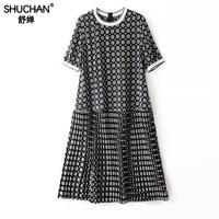 Shuchan Silk Pleated Summer Dress New Women's Clothing In 2019 Short Sleeve Vestidos De Fiesta De Noche Mujer high fashion