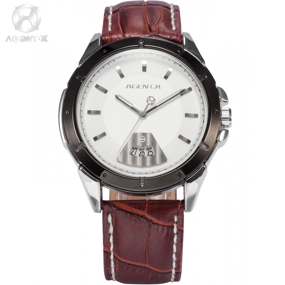 x men watches promotion shop for promotional x men watches on le fatal charm agentx stainless steel black case white dial date leather strap analog quartz wrist casual men watch agx039
