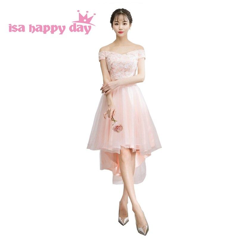 Femmes bateau cou unique rose court avant long dos dresse femme nouvelle 2019 robe pageant robes de soirée robes de soirée élégant H4277