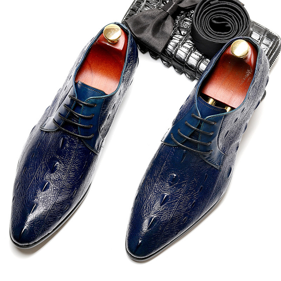 US $68.18 49% OFF|Genuine cow leather brogue business Wedding shoes mens casual flats shoes vintage handmade sneaker oxford shoes for men blue in