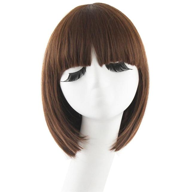 MapofBeauty Court Cheveux Raides Synthétique Noir Brun Blanc Blonde 12 5