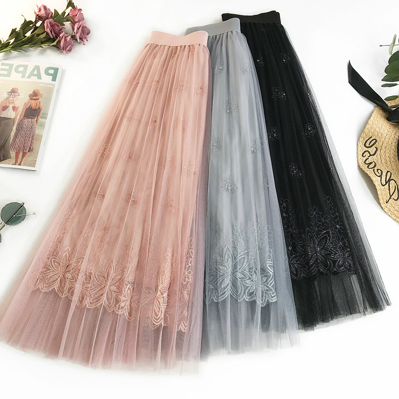 AcFirst Spring Pink Black Women Skirt Mesh High Waist A Line Mid Calf Long Skirts Pleated Clothing Plus Size Embroidery Skirt in Skirts from Women 39 s Clothing