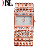 New Fashion Women Rhinestone Watches Luxury O T SEA Brand Ladies Crystal Dress Quartz Wristwatches Relogios