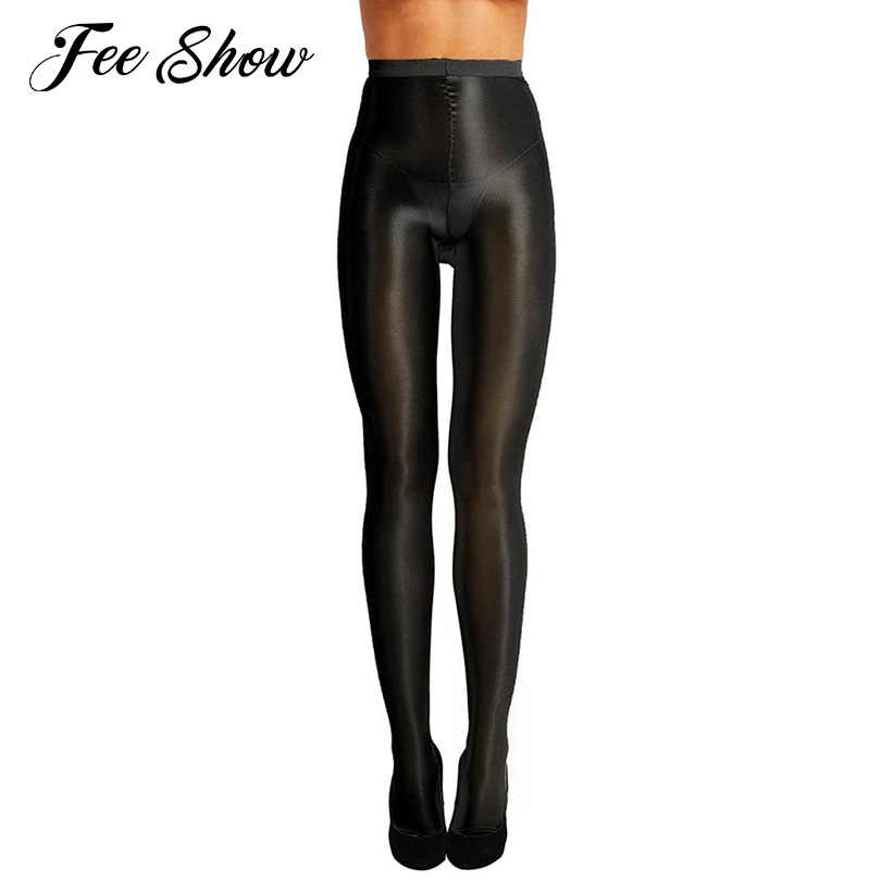 314a44e7f40 Womens Control Top Ultra Sheer Shiny Oil Stockings Shimmery Stretch  Thickness Collant Femme Full Footed Silk