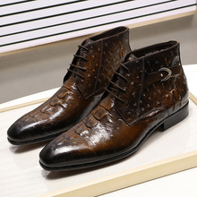 2019 Brand New Ankle Boots For Men Genuine Leather Crocodile Print Fashion Stree