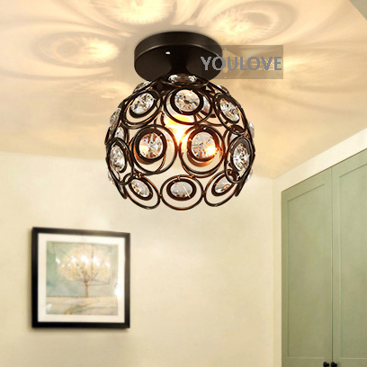 American Country Crystal Ceiling Lights Fixture Hallway Entrance Foyer Bedroom Dining Room Ceiling Lamps Bathroom Balcony light american country style small balcony ceiling light diameter 400mm