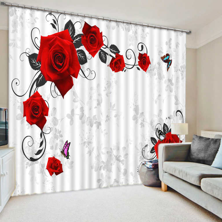Curtains Decoration European 3D Curtains For Living room Blackout Roaantic red rose curtains