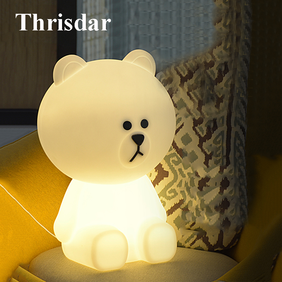 Thrisdar 30CM Bear Rabbit Led Night Light Dimmable Bedside Baby Sleeping Night Lamps Cartoon Animal Kids Baby Christmas Gift itimo led night light baby sleeping kids bedside light bedroom decoration cartoon star night lamps novelty nightlight