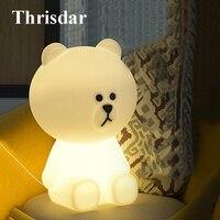 Thrisdar 30CM Bear Rabbit Led Night Light Dimmable Bedside Baby Sleeping Night Lamps Cartoon Animal Kids Baby Christmas Gift