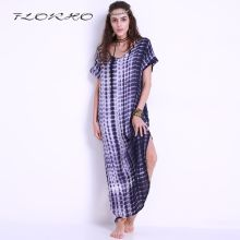 Zomer Vrouwen Sexy Jurken 2019 Vintage Tie Dye Print Side Split Lange Shift Dress Party Gebogen Zoom Korte Mouw Losse maxi Jurk(China)
