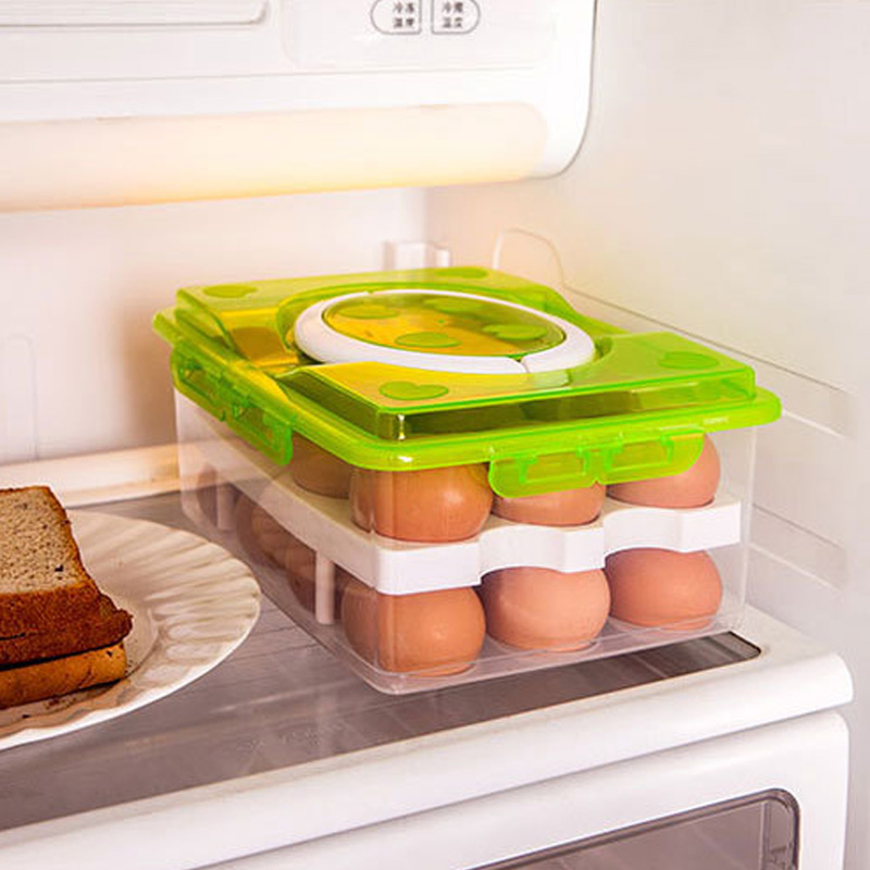 High Quality 2 Layer 24 holes Plastic Egg Holder Storage Box Portable Kitchen Food Container Egg Storage Box Organizer in Bottles Jars Boxes from Home Garden