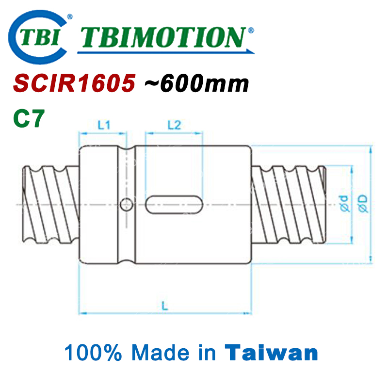 TBI 1605 C7 600mm ballscrew with SCI1605 Without flange ball nut + end machined for CNC diy kit SCI винт tbi sfkr 0802t3d