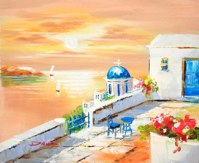 Mediterranean Santorini Greece Garden Yard Sunset Seascape Oil ...