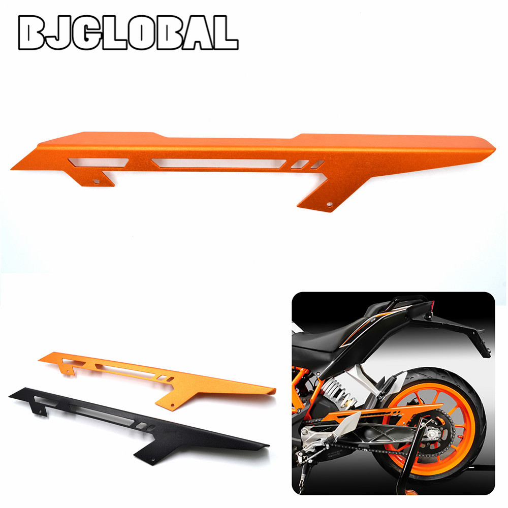 BJGLOBAL Motorcycle CNC Chain Guard Cover For KTM DUKE 390 2013 2014 2015 2016 2017 DUKE 125/200 Orange Black for ktm logo 125 200 390 690 duke rc 200 390 motorcycle accessories cnc engine oil filter cover cap