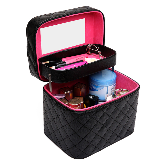 2017 Cosmetic box female double layer PU cosmetic bag women's large capacity storage organizer travel toiletry makeup bag