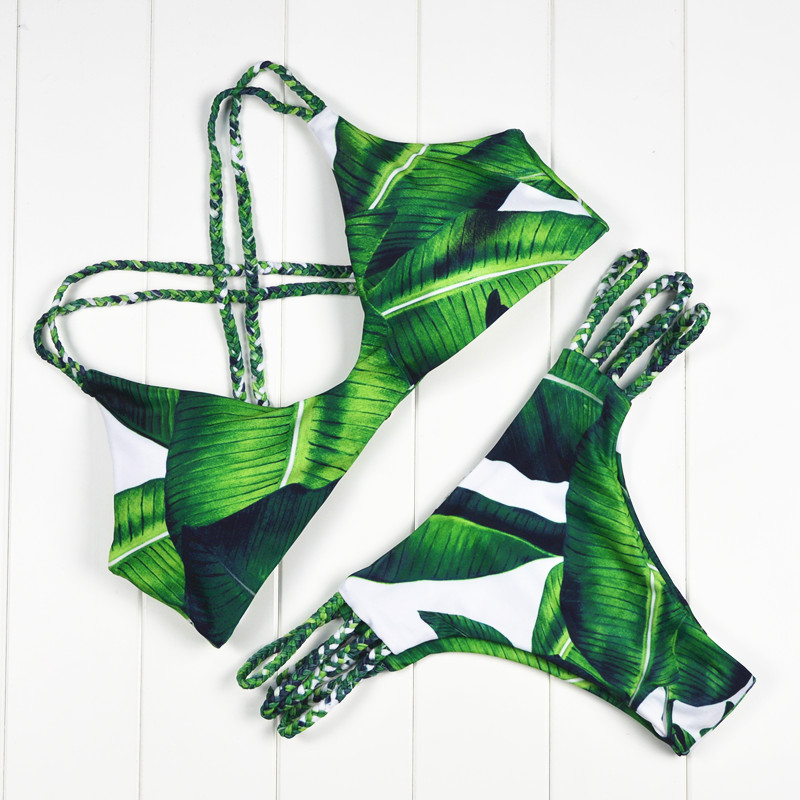 2019 Novo Estilo Biquinis Mulheres Sexy Bandage Push up Bikini Set Vermelho Fino Swimwear Maiô Vintage Biquini