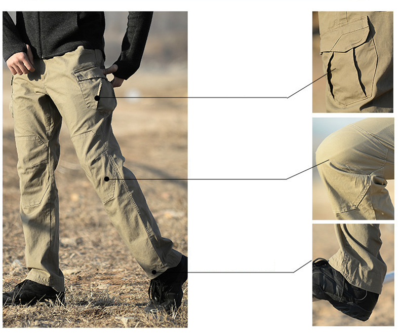 TACVASEN Men Tactical Pants Multi Pockets Cargo Pants Male Army Military Combat Trousers Men's Fashion Casual Pants TD-QZJL-016