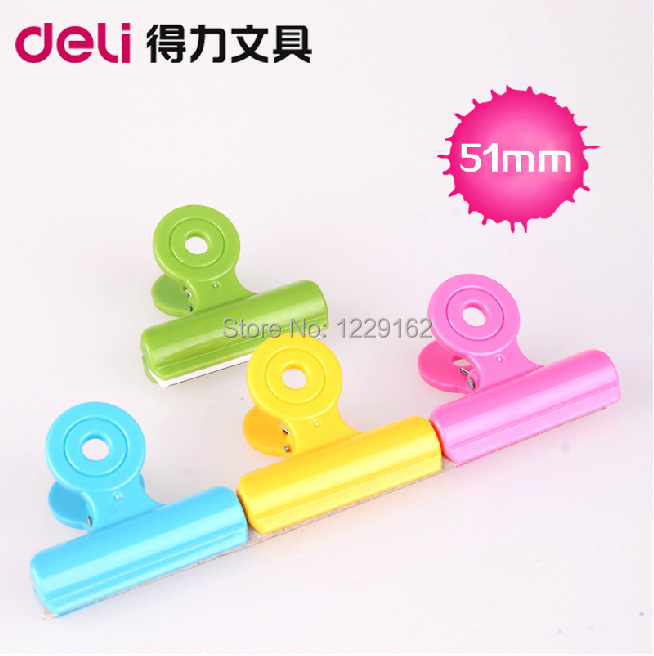Free Shipping (4pcs/set) 51mm multicolour plastic circle clip spring paper clip ticket clip novelty stationery bag clip
