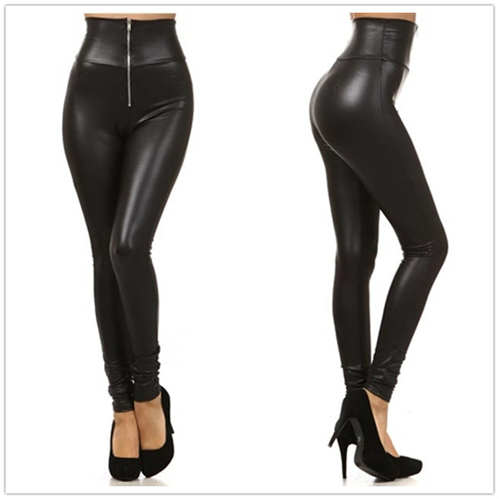 Plus Size 2XL Women High Waist Pencil Leggings Front Zipper Sexy Punk Legging Fake Leather Fitted Leggings Trousers Sexy Workout