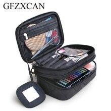 New ladies nylon waterproof cosmetic bag portable travel double-layer lattice with mirror wash