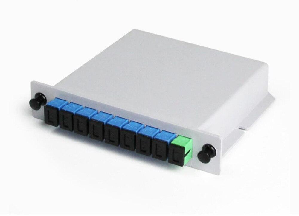 10 pçs/lote 1X8 SC UPC PLC divisor de fibra Caixa De Fibra Óptica FTTH SC UPC 1X8 cassete caixa Acoplador Óptico