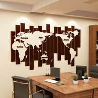 Creative office wall decoration World map stripes acrylic self adhesive wall sticker 3d living room sofa background wallpaper