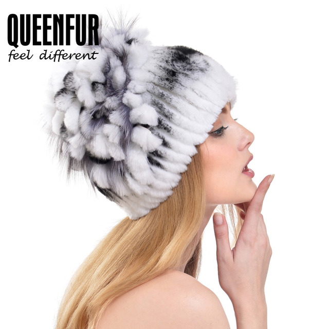 QUEENFUR Pop Russia Luxury Floral Stripe Hats Real Rex Rabbit Fur Cap With Fox Fur Winter Warm Knitted Beanies Caps Good Quality
