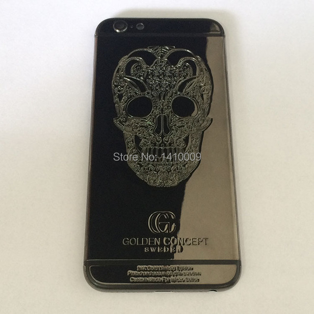 brand new 18041 13f2b US $85.99 |24K Gold Limited Edition SKULL Golden Concept Metal Plated Back  Cover Housing Replacement for iPhone 6 Plus 5.5