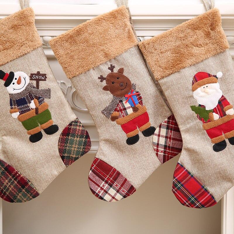 Hot Sale high quality 3 styles stock burlap canvas Christmas stocking 20*35 cm Christmas gift bag
