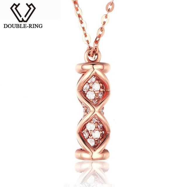 Double r genuine diamond pendant necklaces women link charm 18 k double r genuine diamond pendant necklaces women link charm 18 k gold jewelry female rose mozeypictures Gallery