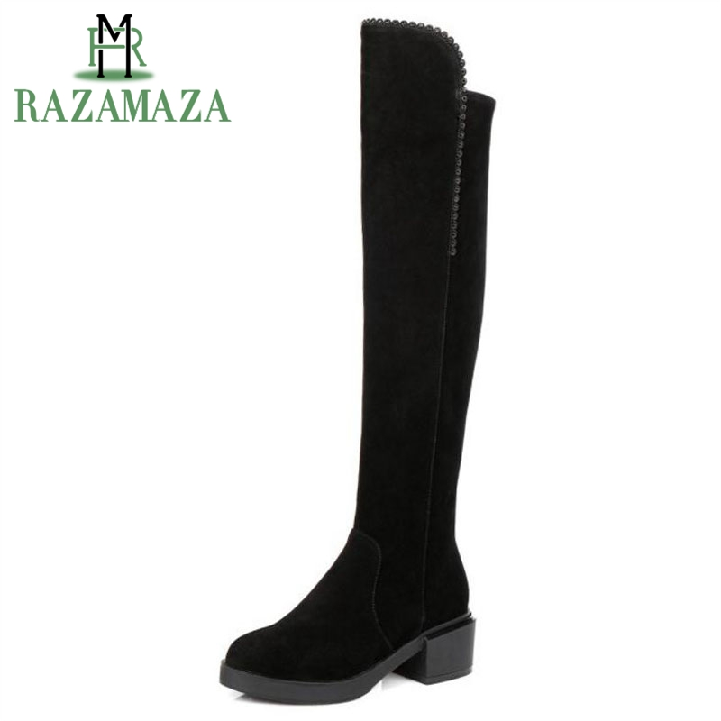 цена на RAZAMAZA Size 34-40 Women Real Leather High Heel Boot Over Knee Boots Warm Fur Shoes Cold Winter Boots Long Botas Women Footwear