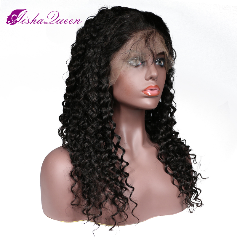 Full Lace Wigs Deep Wave Peruvian Remy Human Hair Wigs 130 Density Bleached Knots Pre Plucked