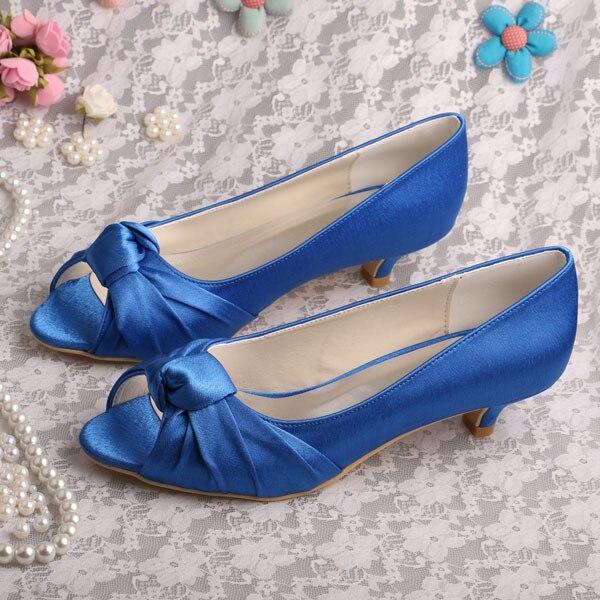 (20 Colors) Low Heel Peep toe Blue Satin Bridal Shoes Pumps Plus Size 42