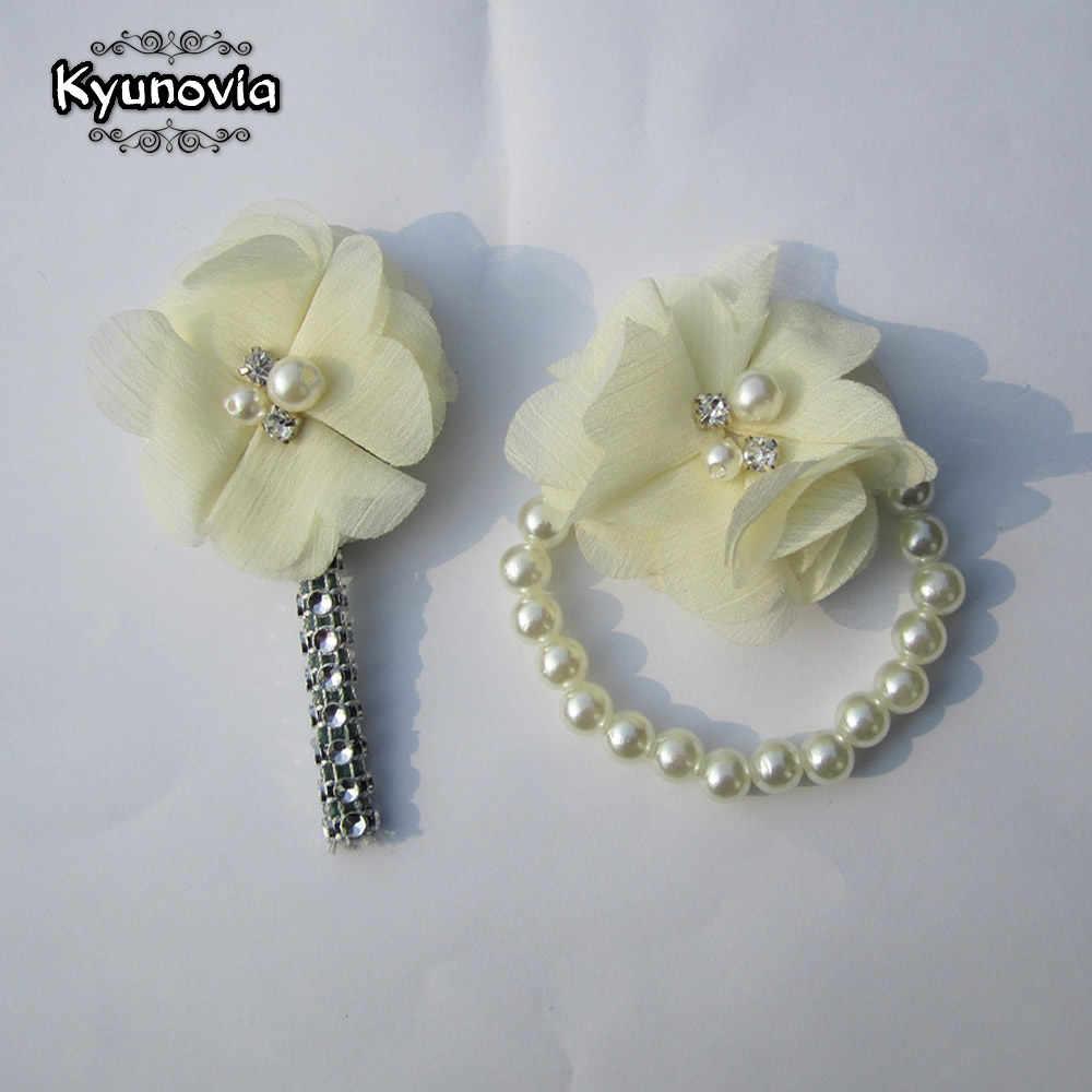 Kyunovia, 1 Juego (2 unidades), Boutonniere personalizado para hombre, para boda, novio, ojal, solapa, Pin, pulsera nupcial, accesorios, ramillete de muñeca Z06