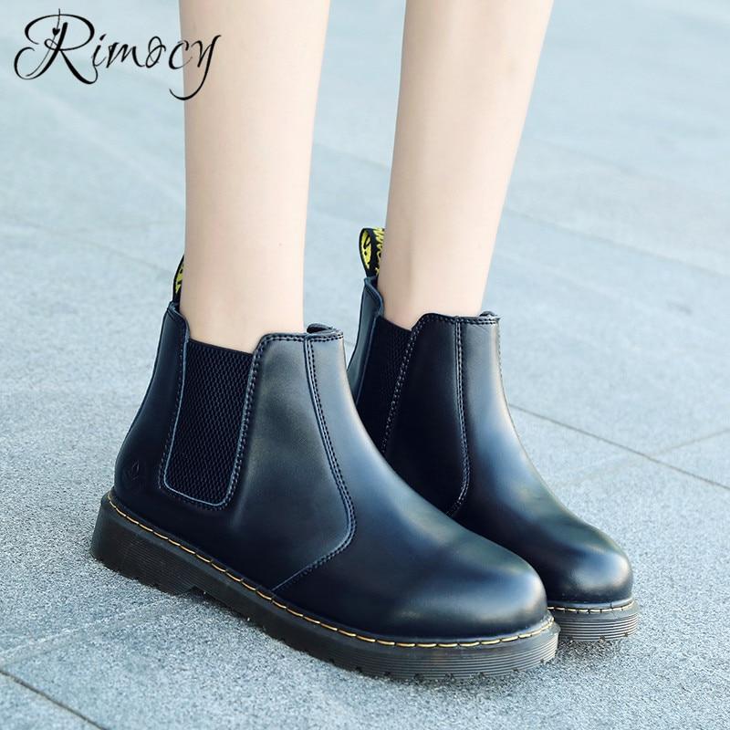 8aeb7bc8a 2019 Rojo Rimocy Plano Tinto Tacón Botines Elástica Moda Zapatos  Impermeable Botas Tobillo Antideslizante Negro Primavera ...