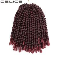DELICE 8inch 100g 60 Strands Pack Synthetic Ombre Braiding Hair Spring Twist Crochet Braids Hair Extensions