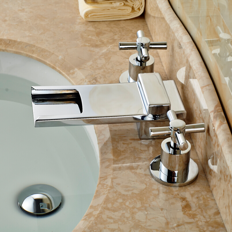 ФОТО Deck Mount Waterfall Long Spout Bathroom Sink Faucet Dual Cross Handles Basin Mixer Taps Chrome Finish