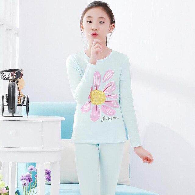 New Big Children Pajamas Set 2pcs Long Sleeve Sleepwear Sets Growing Girls  Pyjamas Kids Cotton Long Johns suit Girls underwear b4a9fe044