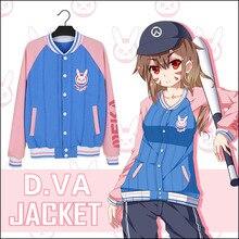D. VA Cosplay Juego Caliente OW D. VA de Béisbol Chaqueta Mujer DVA ropa Yo Juego Para Ganar Azul y Rosa Capa de Ropa Deportiva para primavera