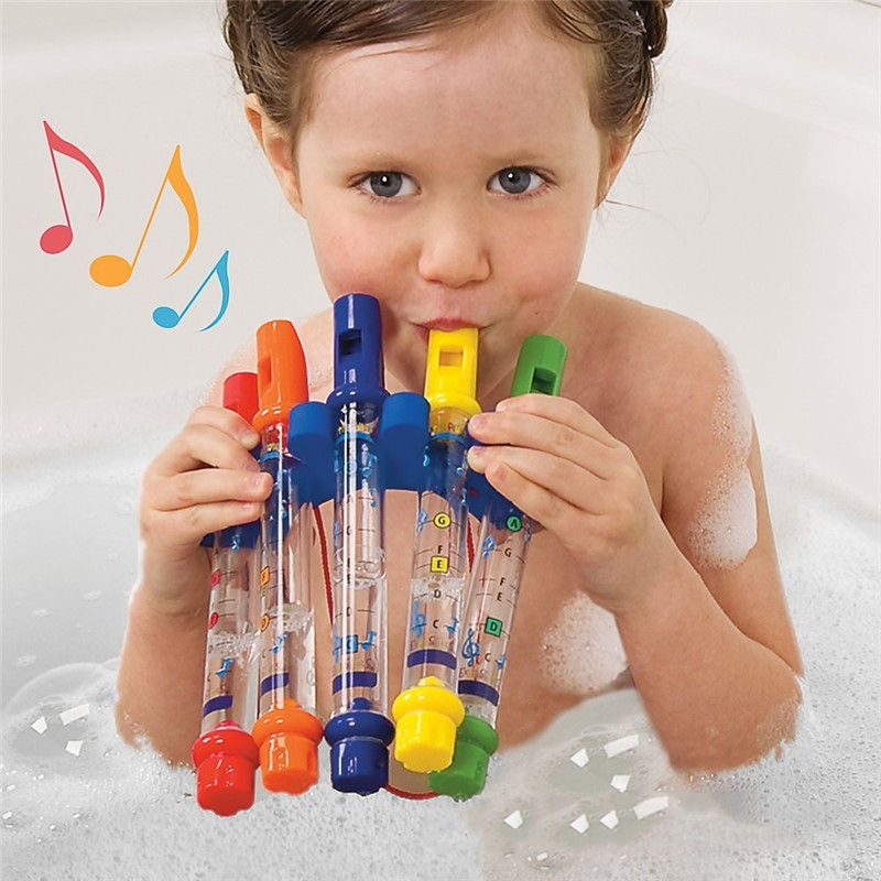 1Pcs Water Flute Toy Kids Children Colorful Water Flutes Bath Tub Tunes Toys Fun Music Sounds Baby Shower Bath Toy QS6253(China)