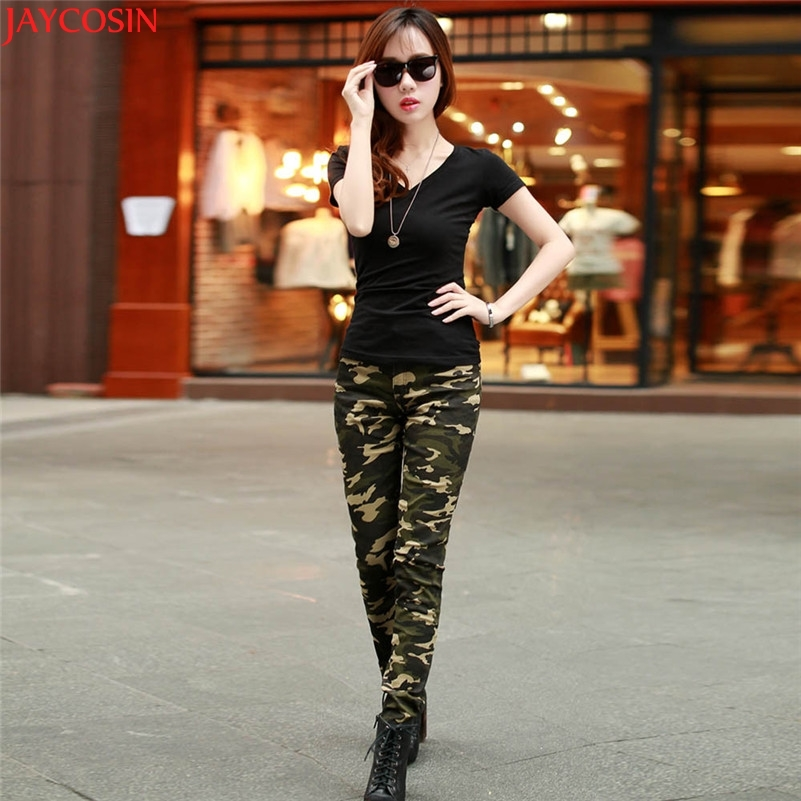 00JOYCOSIN 2017 Fashion Autumn winter Trousers plus size Women's Cotton Blended Close-Fitting Camouflage Army Green Pants