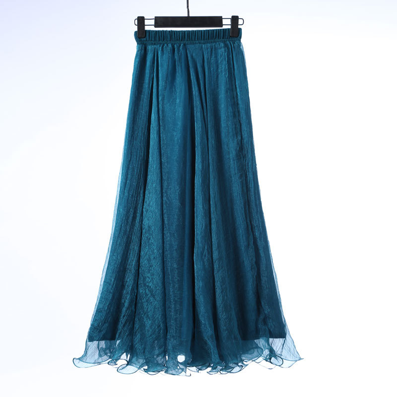 Sherhure 19 High Waist Women Chiffon Long Skirts Floor Length Ruffles White Summer Boho Maxi Skirt Saia Longa Faldas 36