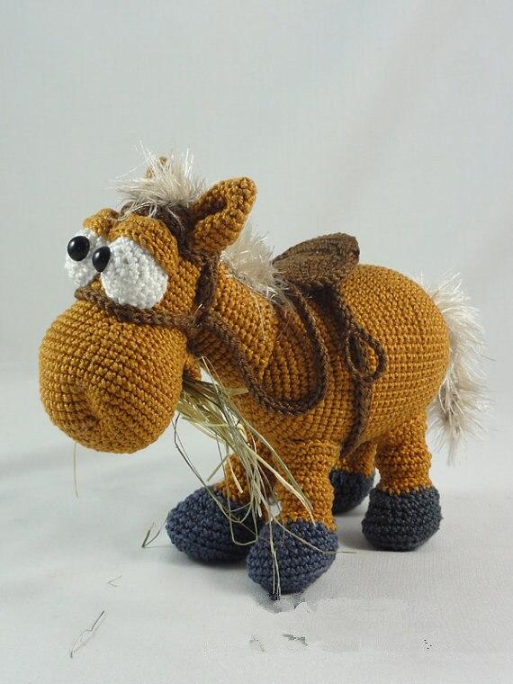 ᗐAmigurumi crochet el caballo juguete sonajeros de muñeca regalo - a7