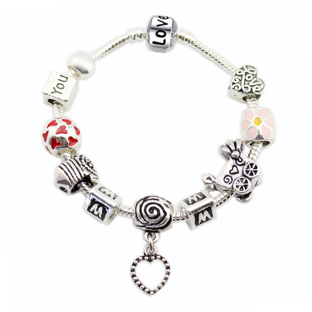 MOM I LOVE YOU Silver Enamel Flower Beads Dangle Love Heart Pulseiras Baby Stroller Charms Bracelet Mother's Day Gift
