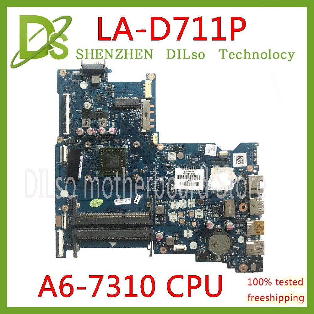 цена на KEFU LA-D711P motherboar 854961-001 854961-601 for HP 15-BA 15Z-BA Laptop Motherboard LA-D711P A6-7310 CPU MB 100% original