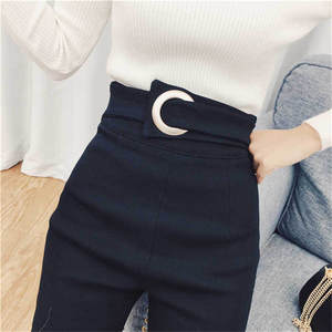 Jeans Elastic Legging Pencil-Pants Waist-Button Classic Slim Vintage High-Waist Black Denim