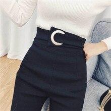 2019 Vintage Mom Fit de cintura alta Jeans elásticos para mujer Denim negro ajustado Jean clásico lápiz pantalones cintura botón Delgado legging