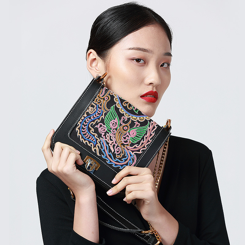 MENOGGA Small Square Bag Genuine Leather Vintage Chinese Style Handmade Embroidery Classic Crossbody Bags For Women 2019