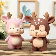 Deer Shaped Piggy Bank Cute Coin Bank Money Box Figurines Saving Money Home Decor Christmas New Year Gift For Kids